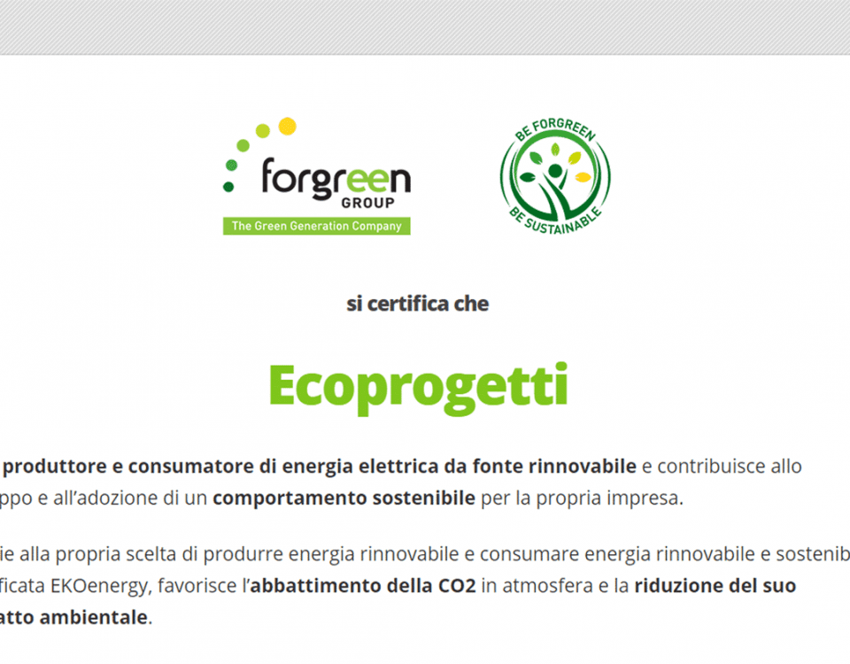 Ecoprogetti è produttore e consumatore di energia elettrica da fonte rinnovabile